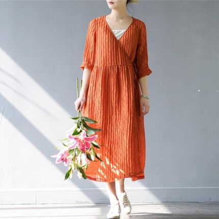 c0073eb5d6 AliExpress SCUWLINEN 2019 Wiosna lato Sukienka Kobiety Solidna Vintage V- neck Luźne Trzy Czwarte Długie