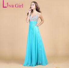 86ca83b0a1 AliExpress Liva dziewczyna Top jakości diamentów sukienka druhna szyfonu  Backless suknie V Neck sukienka na wesele