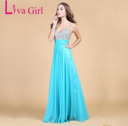a5c223ee01 AliExpress Liva dziewczyna Top jakości diamentów sukienka druhna szyfonu  Backless suknie V Neck sukienka na wesele
