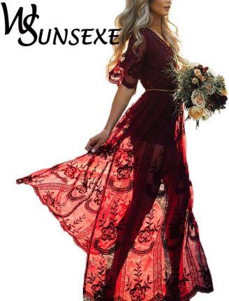 8ce212ff1f AliExpress 2017 Lato Kobiety Długie Suknie Retro Boho Maxi Sukienka Sexy  elegancki Głębokie Vneck Floral Plaża
