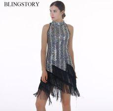 fee060e488 AliExpress BLINGSTORY europa elegancki zdobione cekinami frędzle luksusowe  klapa sukienka piękne kobiety ubrania Drop-shipping