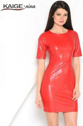 f5a86ec35e Nina Nowych kobiet Vestidos PU Sukienka Moda Pure Color Style Krótkim  Rękawem O