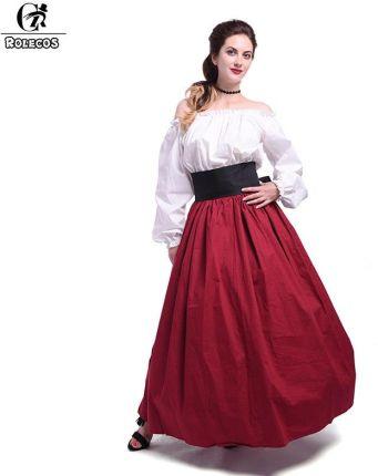 d80431c79a AliExpress ROLECOS 2017 nowy lato Medieval Renaissance bawełna kobiety  sukienka z pasek dekoracyjny sukienka na imprezę