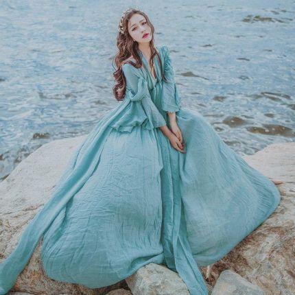 d8322d4636 AliExpress 2019 kobiety w stylu vintage literackie niebieski bandaż  szczupła talia pełna sukienka kobiet boho ekspansji