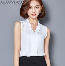 59085cd77bab0d AliExpress Nowy 2019 lato szyfonowa bluzka damska V-neck bez rękawów biały  top bluzki koszule