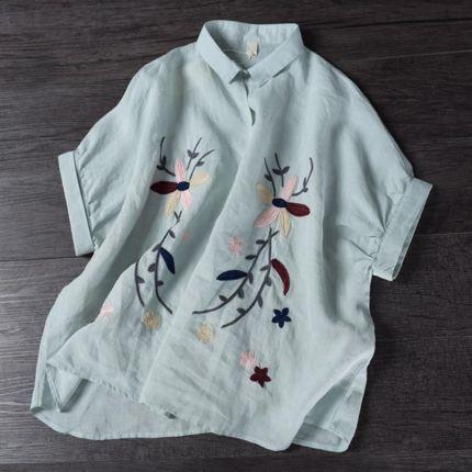 dd1bce3f963780 AliExpress Lato Z Krótkim Rękawem Luźne Bawełniane Lniane Flory Hafty  Sweter Bluzka Koszula dla Kobiet