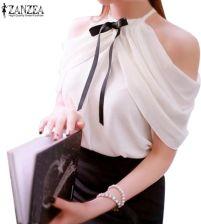 012d520b56846e AliExpress 2018 Lato Style Halter Neck Bowknot Koszule Eleganckie ZANZEA  Kobiety Blusas Sexy Off Ramię Bluzki