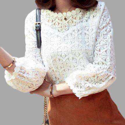c916f57cdf AliExpress Biały długi rękaw koronki oczko topy dla kobiet wiosna slim fit  biuro formalną dnie bluzki