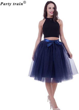 832ecad459 AliExpress 5 warstwy 65 cm Midi Spódnica Tiulowa Księżniczka Plisowane Taniec  Tutu Spódnice Damskie Lolita Kiecka