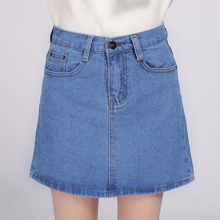 2474de5856 AliExpress 2018 Spódnica Denim Kobiet Zima Jesień Rocznika Dorywczo Kobiet  Linii Jeans Panie Biuro Mini Spódnica