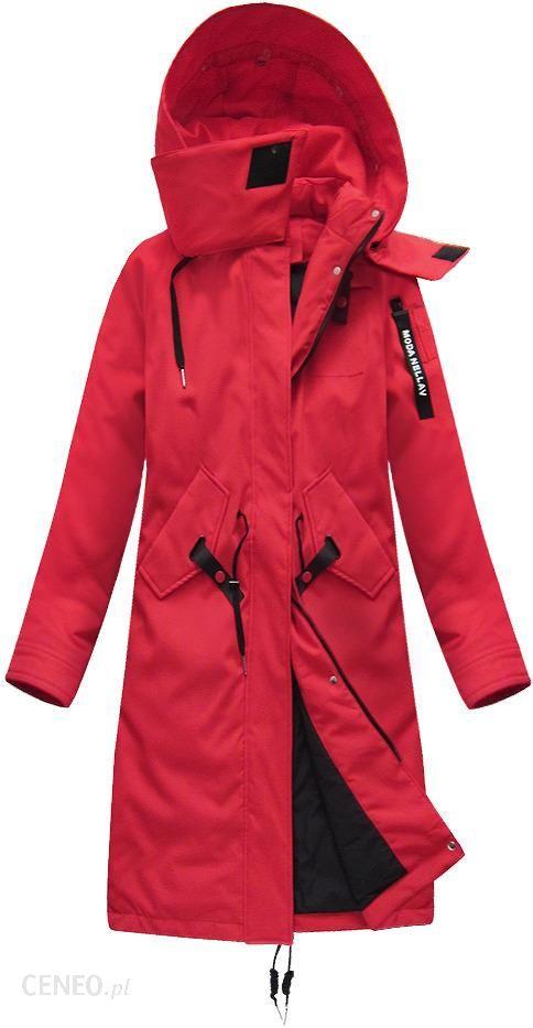Długi płaszcz z puchem naturalnym Bordowy