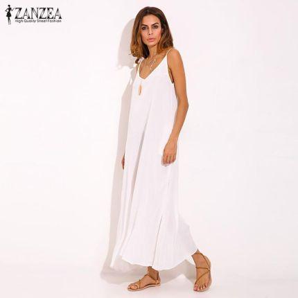 2158c7f613 AliExpress Vestidos 2018 Lato ZANZEA Kobiety Boho Sukienka Bez Ramiączek  Sexy V Neck Bez Rękawów Casual