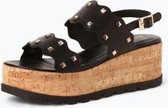 65a139c5ed439e Marc Cain Bags & Shoes - Damskie skórzane sandały na obcasie, czarny -  zdjęcie 1