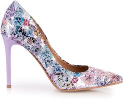 78408e2c Szpilki kwiatowa mozaika z wrzosowym obcasem Arturo Vicci