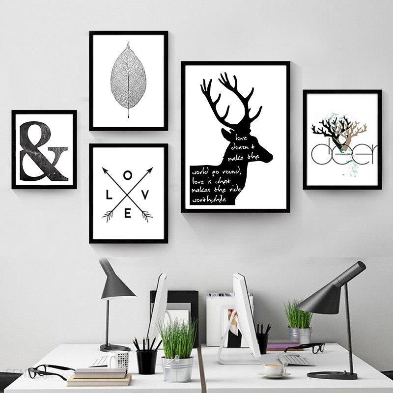Aliexpress Streszczenie Minimalistyczny Symbol Płótnie Malarstwo Czarny Biały Nordic Scandinavian ściany Obraz Plakat Druku Salon Wystrój Domu