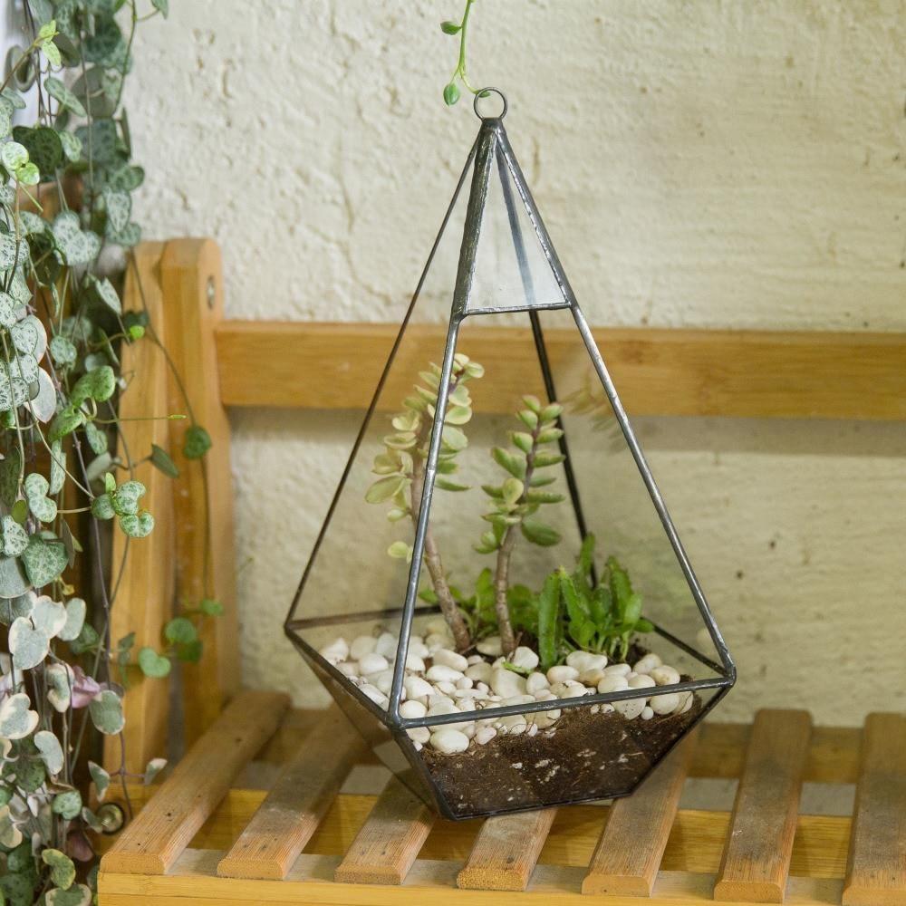 Aliexpress Trójkąt Piramida Geometryczne Pole Soczyste Terrarium Szklane Paproci Moss Wiszące Doniczki Roślin Bonsai Garnki Plantator Donice Ogrodowe