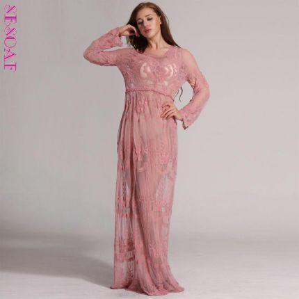 26ca1d905c AliExpress SESOAF 2018 Sexy Hollow Out Lace Dress Kobiet Ciążowe Stock Z  Długim Rękawem Sukienka Elegancka