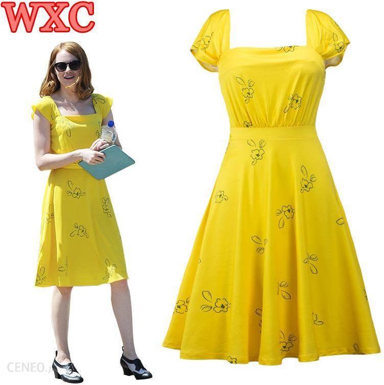 d02f71ffd98bd9 AliExpress La La Land Movie Żółty Mia Cosplay Strój Elegancki Vintage 1950  s Party Sukienki Krótki