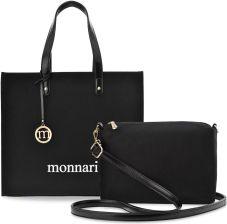 6a56cf6bc9065 Pojemna torebka damska monnari shopper bag duży kuferek aktówka + organizer  listonoszka logo - czarny