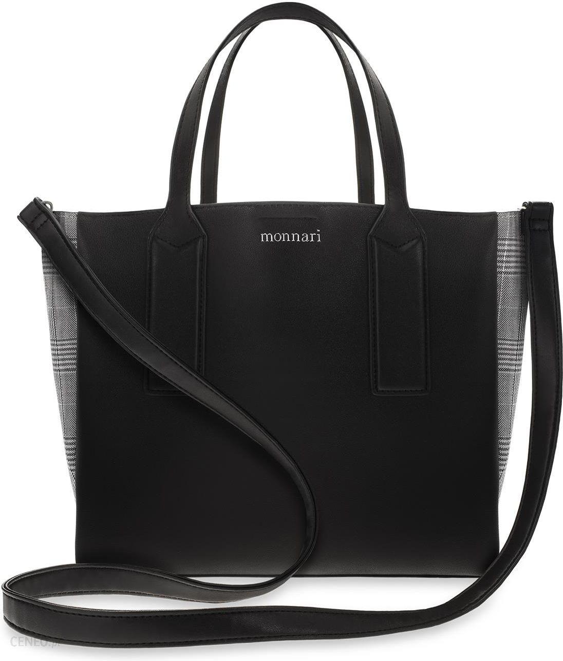 Monnari Torebka damska shopper worek BAG 0870 czarny zielone lampasy pasek