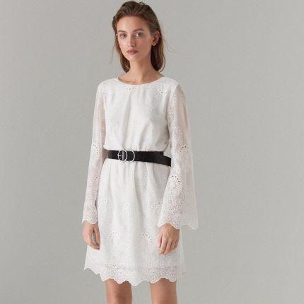 537b749ef8 Mohito - Haftowana sukienka z wiązaniem - Biały Mohito