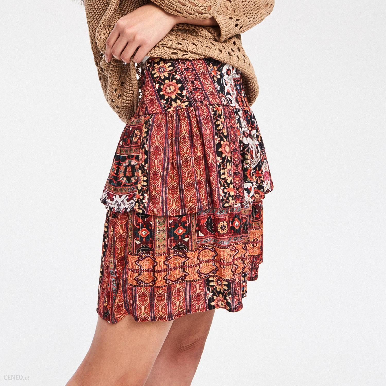 Mohito Szyfonowa spódnica z falbanami Wielobarwn Ceny