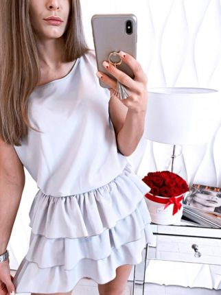 42d359de9d93e7 Magmac Kobieca mini sukienka z falbankami DIANA