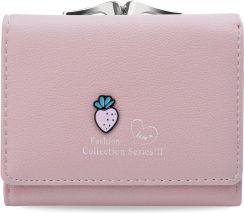 eda09a7baa575 Urocza dziewczęca portmonetka mały portfel damski na bigiel truskawka -  różowy