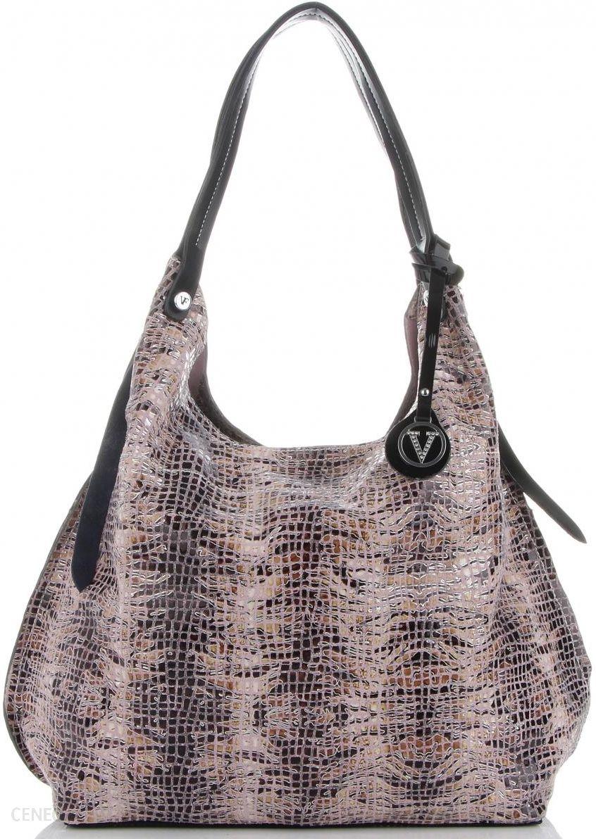 850b0e0fc3e61 Velina Fabbiano Designerskie Włoskie Torebki Skórzane Shopper XL w modne  wzory Brudny Róż (kolory)