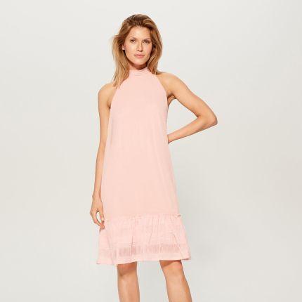 e1602f9e75 Mohito - Trapezowa sukienka z dekoltem halter - Różowy Mohito