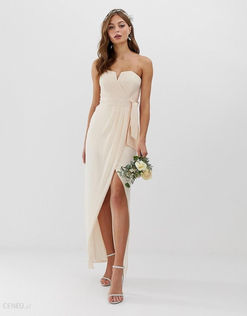 d66a99137dc9b TFNC bridesmaid exclusive bandeau wrap midaxi dress with pleated detail in  pink - Pink - Ceneo.pl