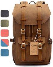 77dd415277cda Amazon Skórzany plecak EverVanz Canvas, podróżny, dzienny, miejsce na  15-calowy laptop