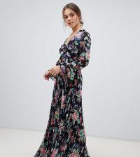 fb5552975bdae ASOS DESIGN Petite pleated wrap maxi dress with ruffle in floral print -  Multi