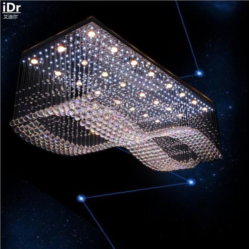 Aliexpress Nowoczesne Wysokiej Klasy Niskiego Napięcia Inżynierii Lampa Led Kryształ światła Prostokątne Lampy Kryształowe Lampy Sufitowe