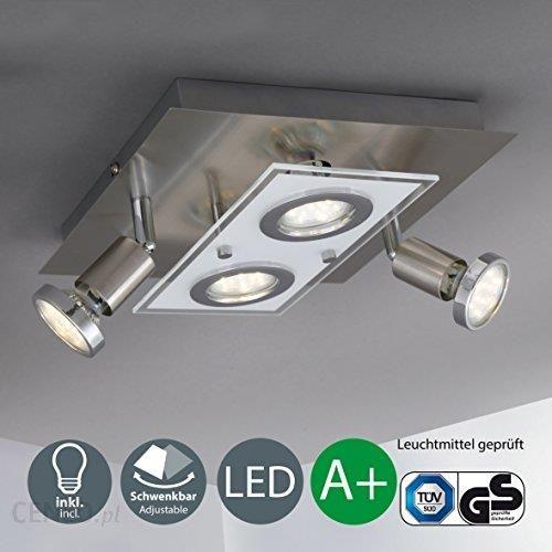 Amazon Bk światło Led Lampa Sufitowa 4 Punktowa Metal Szkło Oświetlenie Punktowe