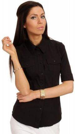 04fc300267220d Klasyczna taliowana koszula z krótkim rękawem - czarna M027 - Ceny i ...