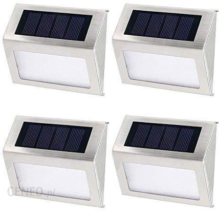 Amazon 4 Szt 3 Diodami Led Solar Lampa Lampy Solarne Ogród Lampa Zewnętrzna Led Ogrodowa ścienne Oświetlenie Klatki Schodowej Ceneopl
