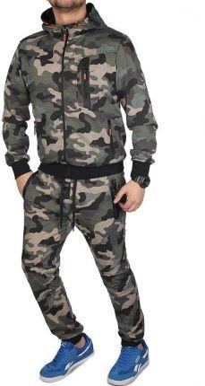 411561d85 Dres Męski Moro Komplet Dresowy Bluza z Kapturem i Spodnie Joggery K9511  Khaki - ZIELONY