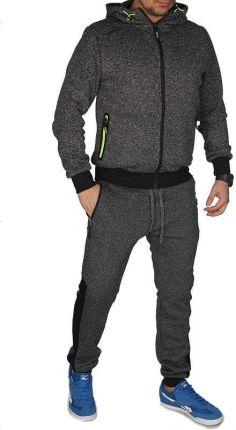 0557b769e3 Dres Męski Komplet Dresowy Bluza z Kapturem i Spodnie Joggery K1205 Czarny  - CZARNY