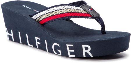 b5db7bdfd253d Japonki TOMMY HILFIGER - Iconic Wedge Beach Sandal FW0FW03866 Rbw 020  eobuwie