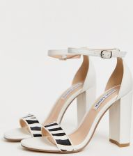 350288c5f6f Steve Madden Carrson white leather heeled sandals with zebra detail - White