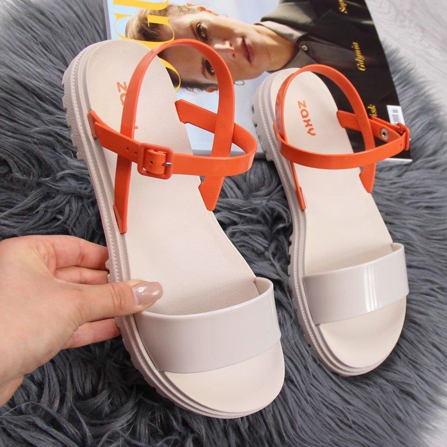 Sandały damskie gumowe beżowe pomarańczowe Zaxy beżowy pomarańczowy
