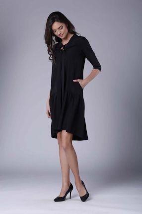 6b0f1d5603 Nommo Czarna Subtelna Sukienka z Obniżoną Talią Wiązana przy Dekolcie