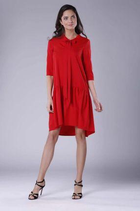 a3edfe6449 Nommo Czerwona Subtelna Sukienka z Obniżoną Talią Wiązana przy Dekolcie