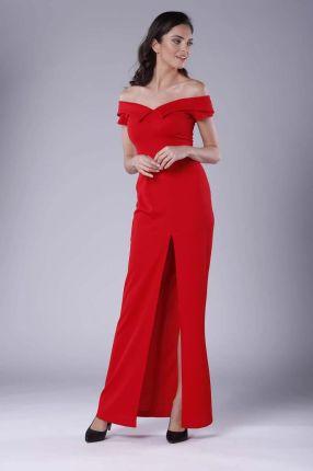8bd942d560 Nommo Czerwona Wieczorowa Sukienka Maxi Odsłaniająca Dekolt i Ramiona