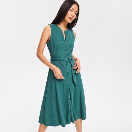 2d1c3e6e1dded7 Reserved - Gładka sukienka midi - Turkusowy ...