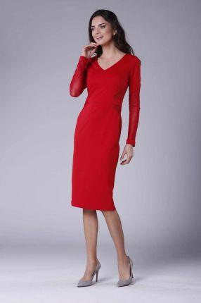 ea75f0151f Nommo Czerwona Elegancka Ołówkowa Sukienka z Prześwitującymi Detalami