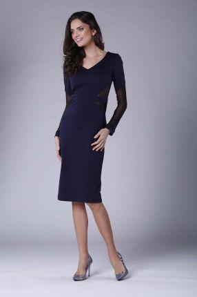 98f725f35b Nommo Granatowa Elegancka Ołówkowa Sukienka z Prześwitującymi Detalami