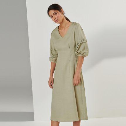 4d84677069 Reserved - Sukienka z bufiastymi rękawami - Zielony ...