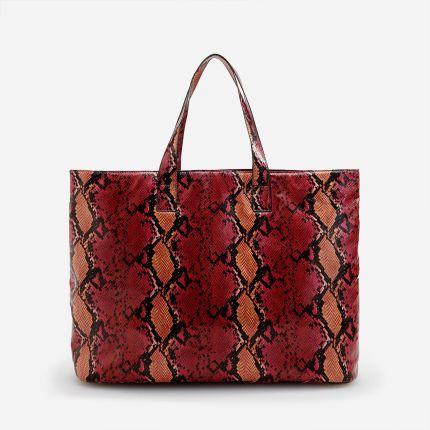 701e1e42d8985 Skórzana torebka worek ze wzorem skóry węża - Granatowy - Ceny i ...